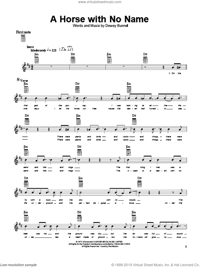 A Horse With No Name sheet music for ukulele by America and Dewey Bunnell, intermediate skill level