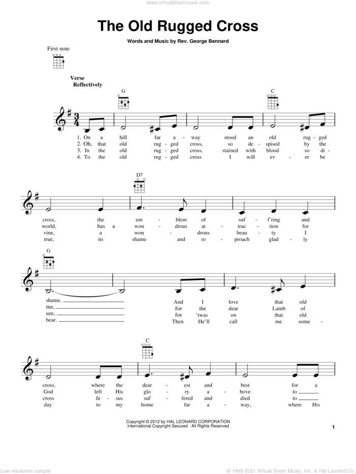 The Old Rugged Cross sheet music for ukulele by Rev. George Bennard, intermediate skill level