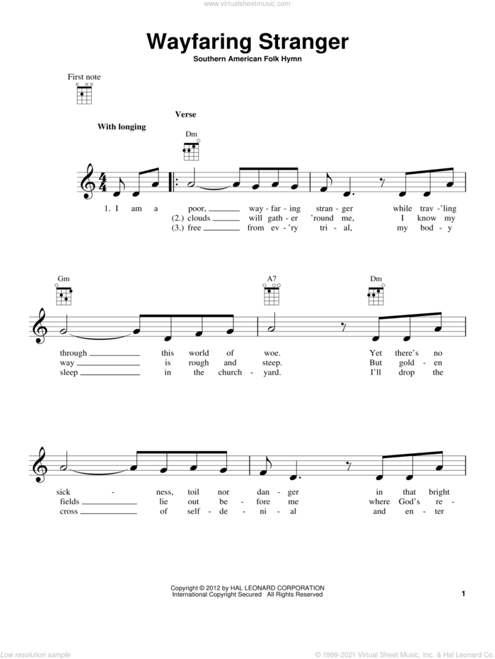 Wayfaring Stranger sheet music for ukulele, intermediate skill level