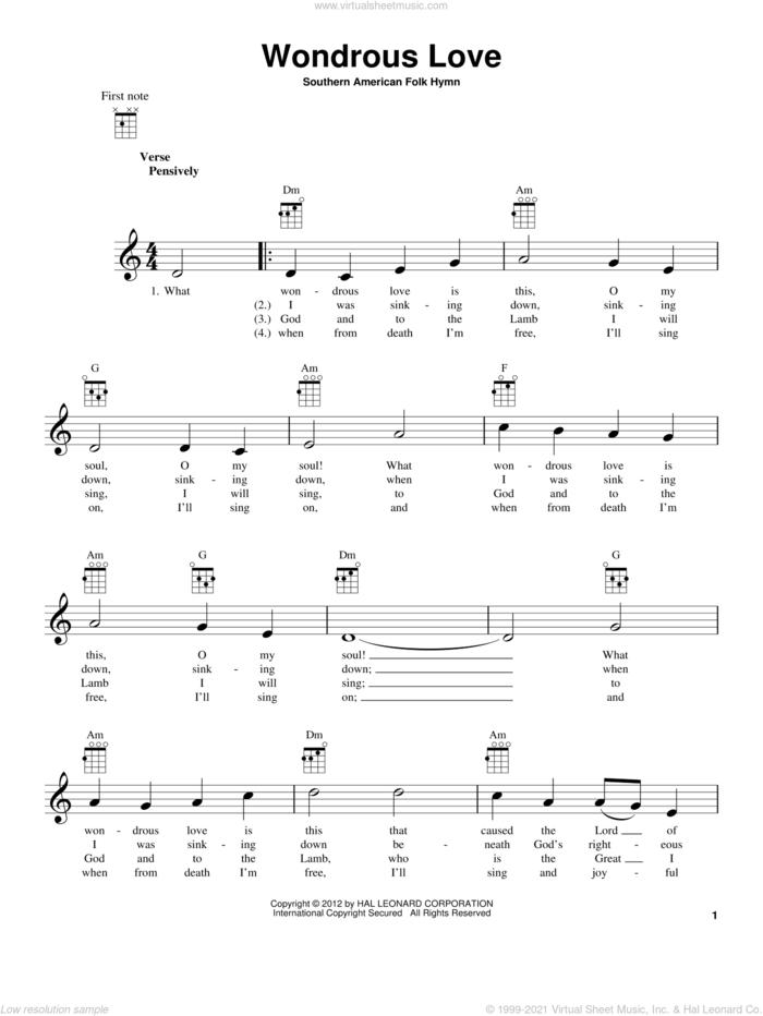 Wondrous Love sheet music for ukulele, intermediate skill level