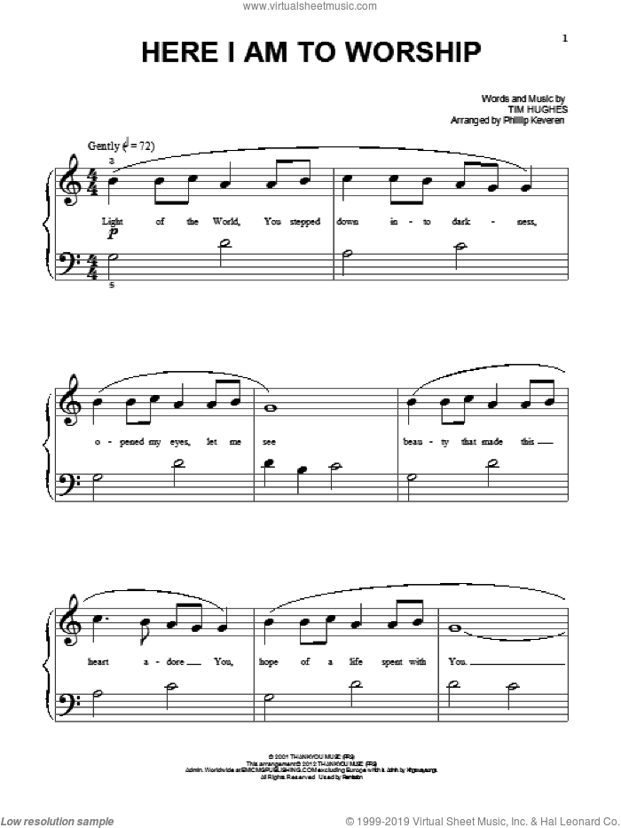 Here I Am To Worship sheet music for piano solo (big note book) by Tim Hughes and Phillips, Craig & Dean, easy piano (big note book)