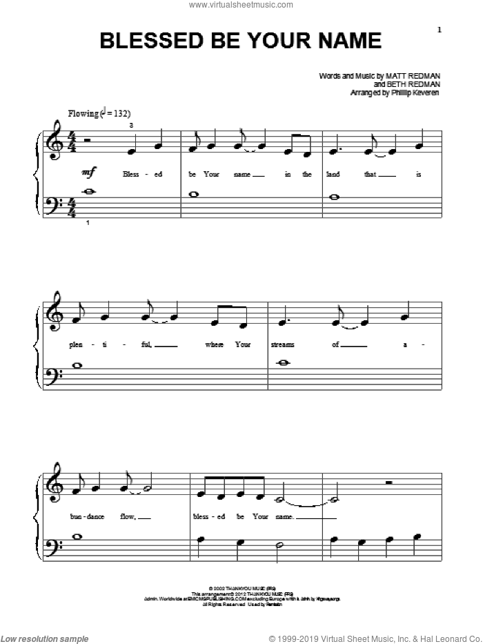 Blessed Be Your Name sheet music for piano solo (big note book) by Matt Redman, Beth Redman and Tree63, easy piano (big note book)