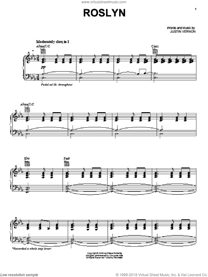 Rosyln sheet music for voice, piano or guitar by Bon Iver, Bon Iver & St. Vincent, Justin Vernon and Twilight: New Moon (Movie), intermediate skill level