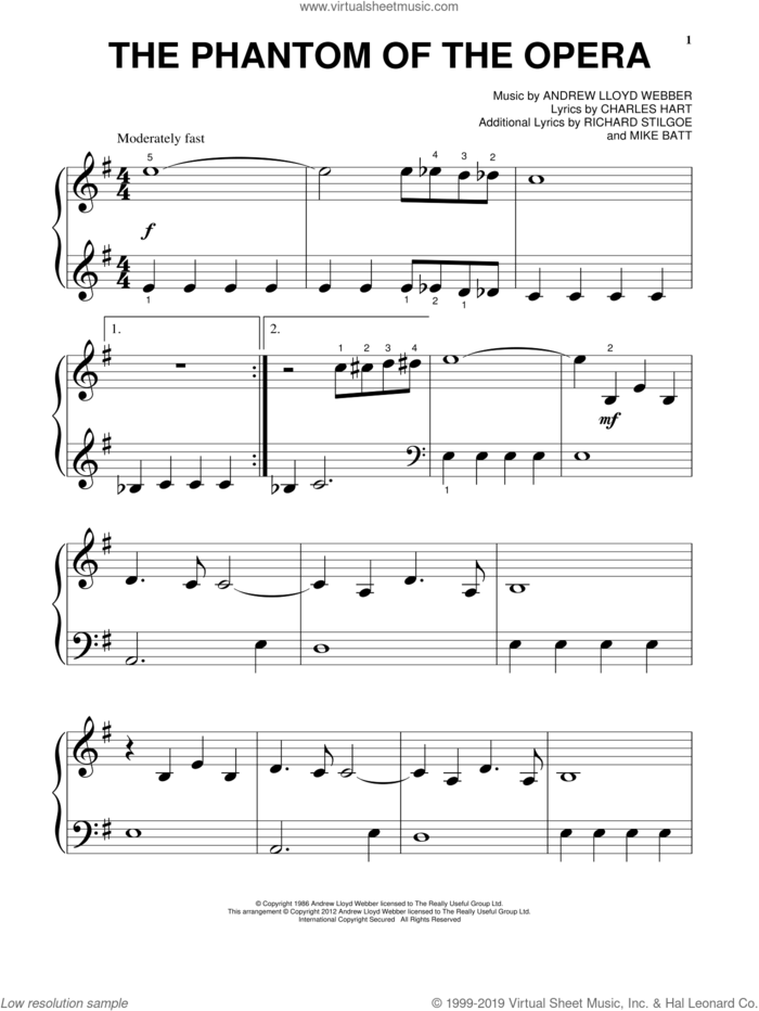 The Phantom Of The Opera sheet music for piano solo (big note book) by Andrew Lloyd Webber, Charles Hart, Mike Batt and Richard Stilgoe, easy piano (big note book)