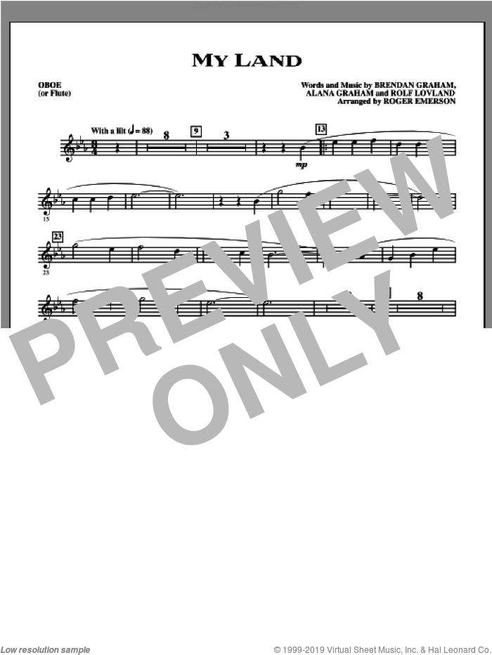 My Land (arr. Roger Emerson) (complete set of parts) sheet music for orchestra/band (Instrumental Parts) by Brendan Graham, Alana Graham, Rolf Lovland, Celtic Thunder and Roger Emerson, intermediate skill level
