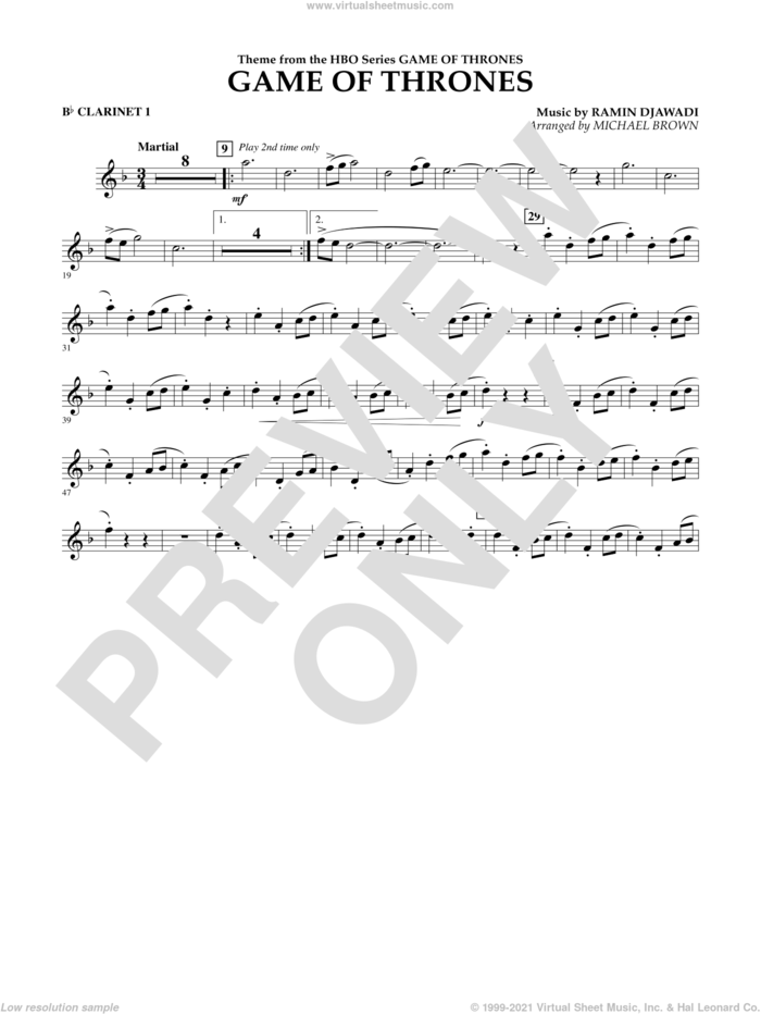 Game Of Thrones (arr. Michael Brown) sheet music for concert band (Bb clarinet 1) by Ramin Djawadi, Game Of Thrones (TV Series) and Michael Brown, intermediate skill level