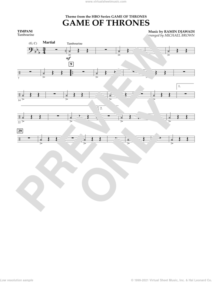 Game Of Thrones (Arr. Michael Brown) sheet music for concert band (timpani) by Ramin Djawadi, Game Of Thrones (TV Series) and Michael Brown, intermediate skill level