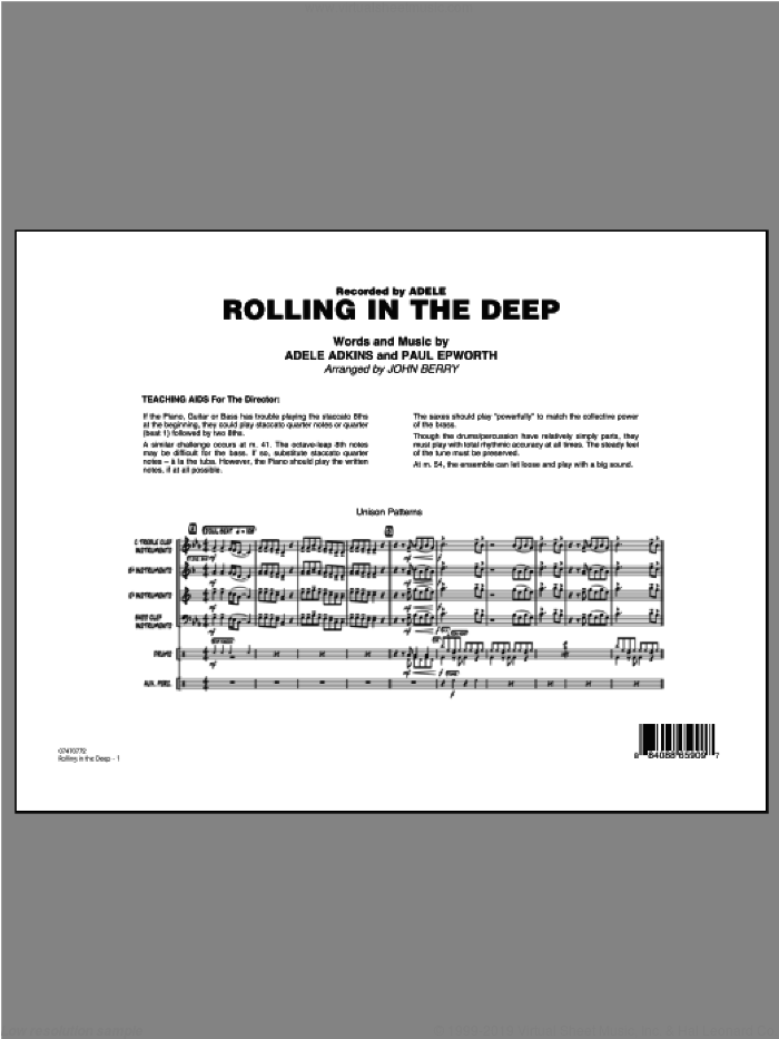 Rolling In The Deep (COMPLETE) sheet music for jazz band ( Ensemble) by Paul Epworth, Adele Adkins, Adele and John Berry, intermediate skill level