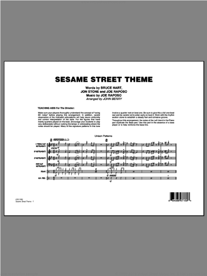 Sesame Street Theme (COMPLETE) sheet music for jazz band ( Ensemble) by John Berry, Bruce Hart, Joe Raposo and Jon Stone, intermediate skill level