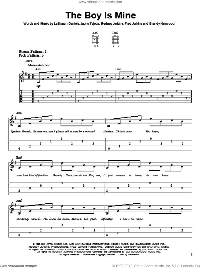 The Boy Is Mine sheet music for guitar solo (easy tablature) by Brandy & Monica, Brandy, Monica, Brandy Norwood, Fred Jerkins, Japhe Tejeda, LaShawn Daniels and Rodney Jerkins, easy guitar (easy tablature)