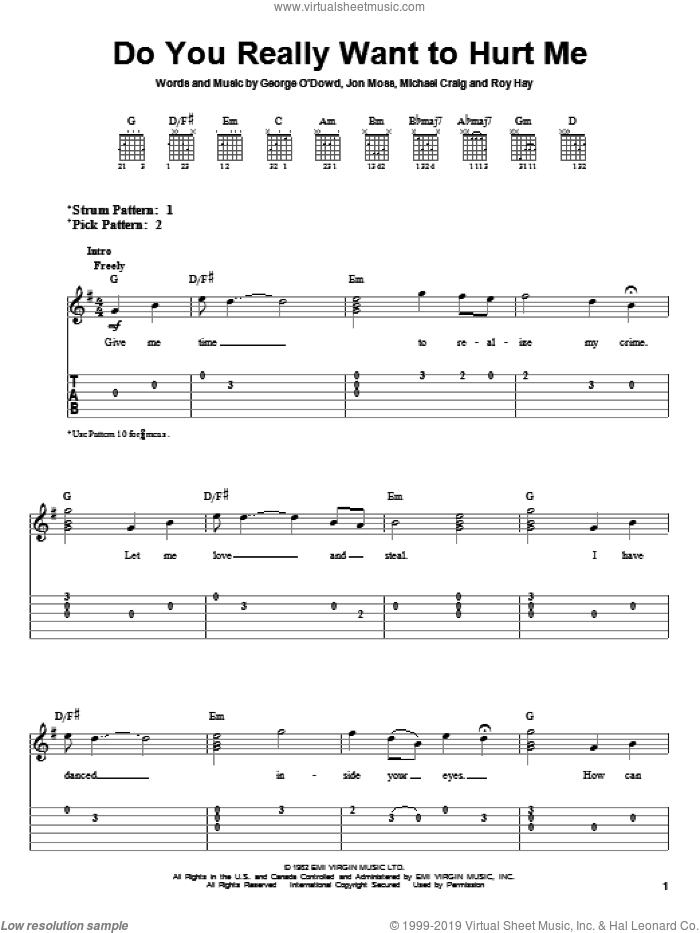 Do You Really Want To Hurt Me sheet music for guitar solo (easy tablature) by Culture Club, Violent Femmes, Jon Moss, Michael Craig and Roy Hay, easy guitar (easy tablature)