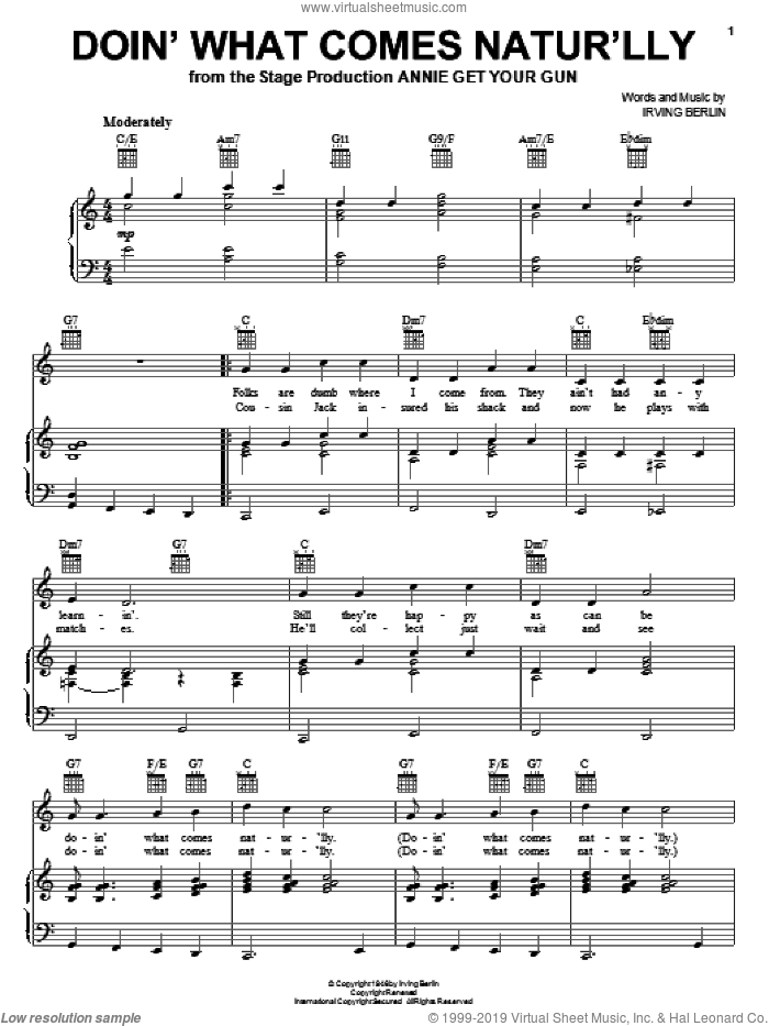 Doin' What Comes Natur'lly sheet music for voice, piano or guitar by Ethel Merman, Annie Get Your Gun (Musical) and Irving Berlin, intermediate skill level