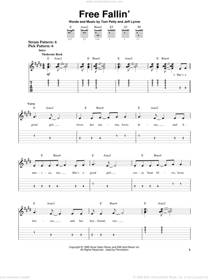 Free Fallin' sheet music for guitar solo (easy tablature) by Tom Petty and Jeff Lynne, easy guitar (easy tablature)