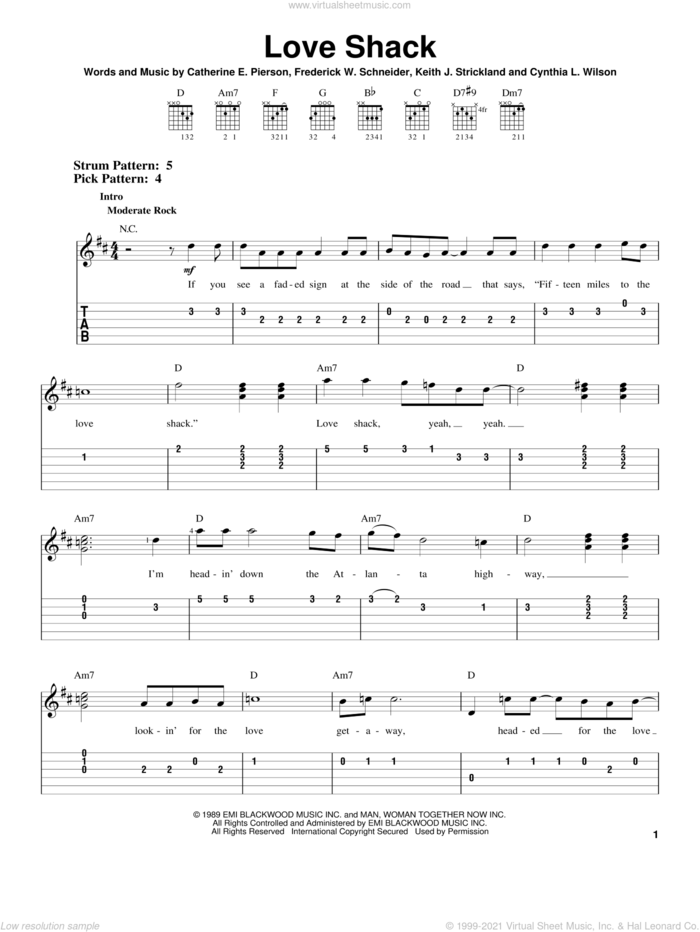 Love Shack sheet music for guitar solo (easy tablature) by The B-52's, Catherine E. Pierson, Cynthia L. Wilson, Frederuck W. Schneider and Keith Strickland, easy guitar (easy tablature)