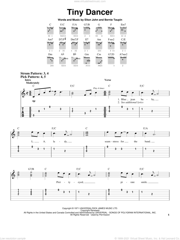 Tiny Dancer sheet music for guitar solo (easy tablature) by Elton John and Bernie Taupin, easy guitar (easy tablature)