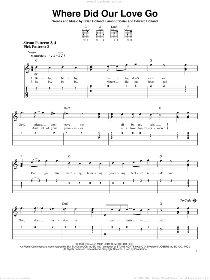 Where Did Our Love Go sheet music for guitar solo (easy tablature) by The Supremes, Brian Holland, Eddie Holland and Lamont Dozier, easy guitar (easy tablature)