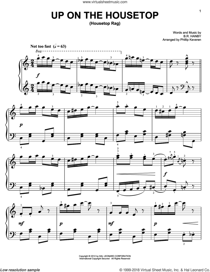 Up On The Housetop [Ragtime version] (arr. Phillip Keveren) sheet music for piano solo by Phillip Keveren and Benjamin Hanby, easy skill level