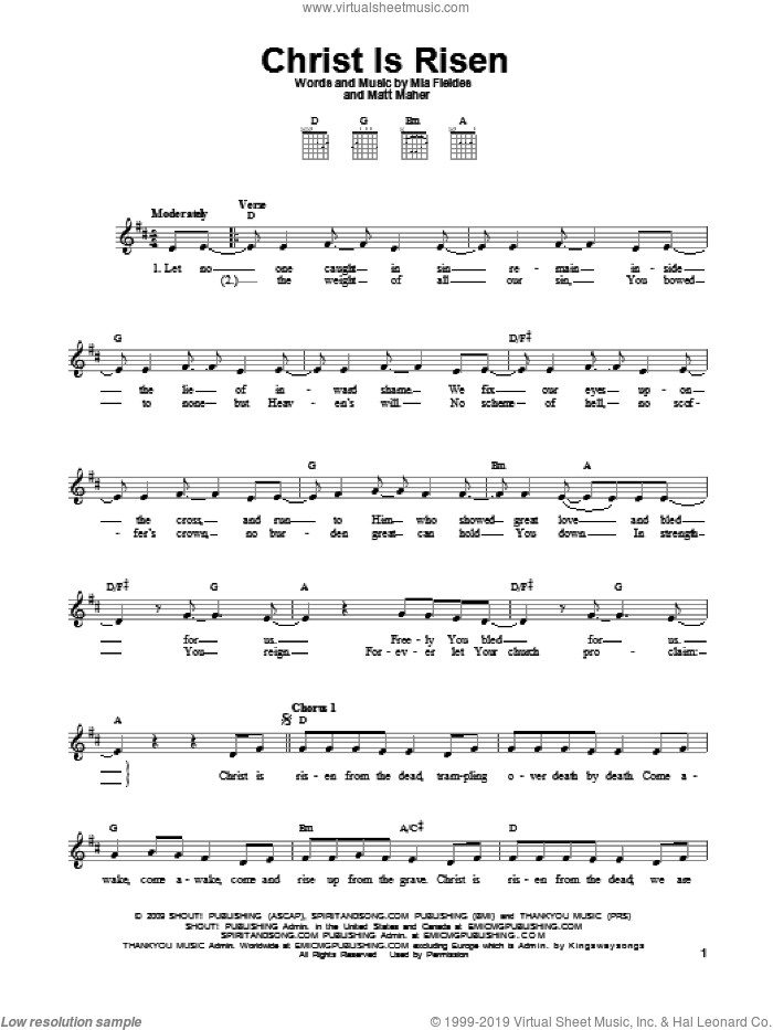 Christ Is Risen sheet music for guitar solo (chords) by Mia Fieldes and Matt Maher, easy guitar (chords)