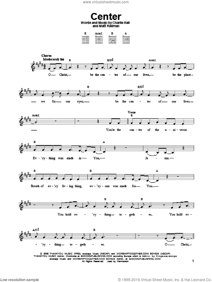 Center sheet music for guitar solo (chords) by Matt Redman and Charlie Hall, easy guitar (chords)