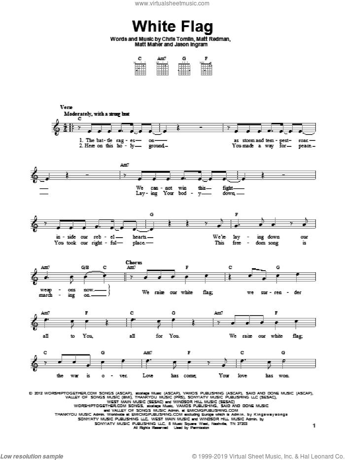 White Flag sheet music for guitar solo (chords) by Passion, Chris Tomlin, Jason Ingram, Matt Maher and Matt Redman, easy guitar (chords)