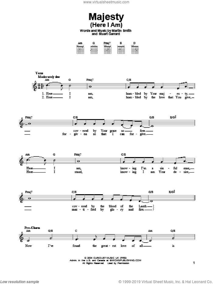 Majesty (Here I Am) sheet music for guitar solo (chords) by Delirious?, Martin Smith and Stuart Garrard, easy guitar (chords)