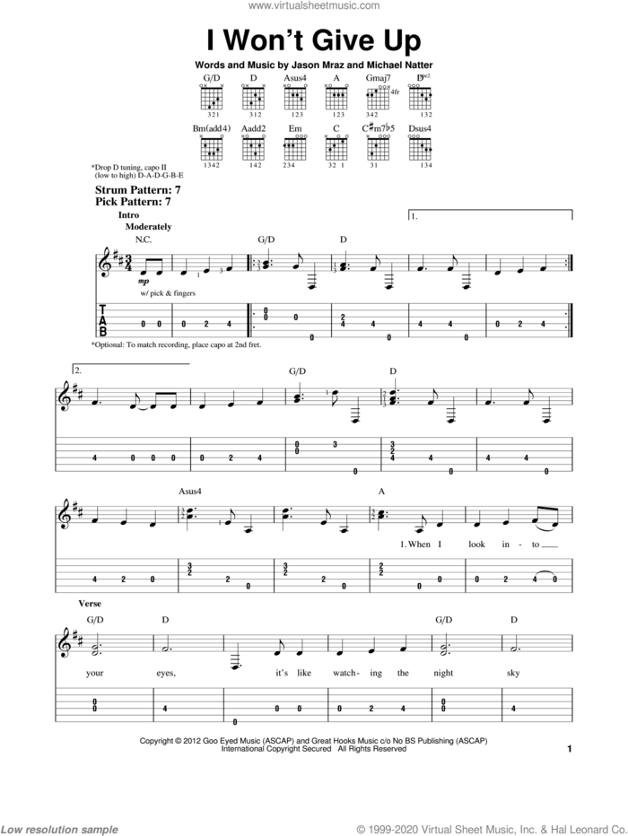 I Won't Give Up sheet music for guitar solo (easy tablature) by Jason Mraz and Michael Natter, easy guitar (easy tablature)