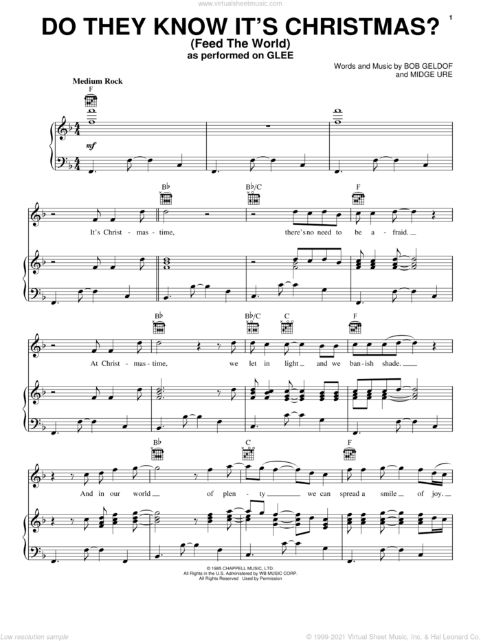 Do They Know It's Christmas? (Feed The World) sheet music for voice, piano or guitar by Glee Cast, Bob Geldof and Midge Ure, intermediate skill level