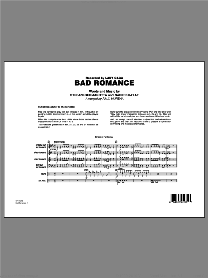 Bad Romance (COMPLETE) sheet music for jazz band by Lady Gaga, Nadir Khayat and Paul Murtha, intermediate skill level