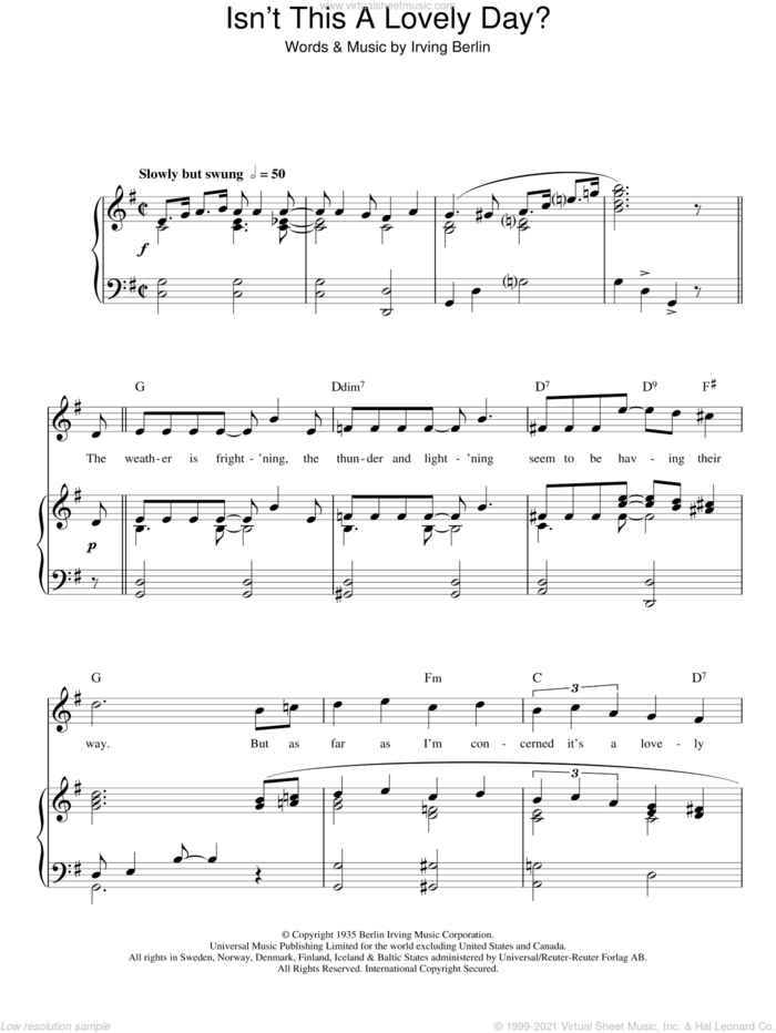 Isn't This A Lovely Day? sheet music for voice, piano or guitar by Top Hat Cast and Irving Berlin, intermediate skill level