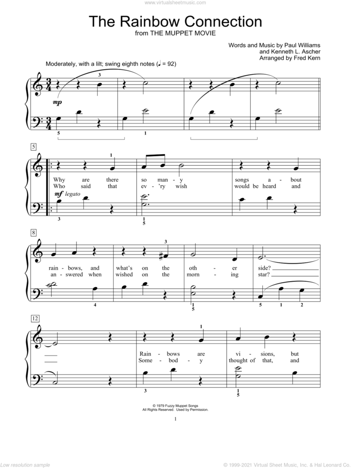 The Rainbow Connection sheet music for piano solo (elementary) by Kermit The Frog, Fred Kern, Miscellaneous, Kenneth L. Ascher and Paul Williams, beginner piano (elementary)