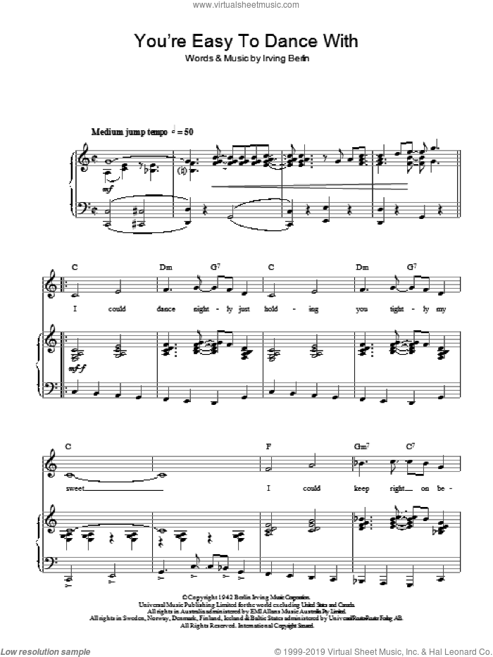 You're Easy To Dance With sheet music for voice, piano or guitar by Top Hat Cast and Irving Berlin, intermediate skill level