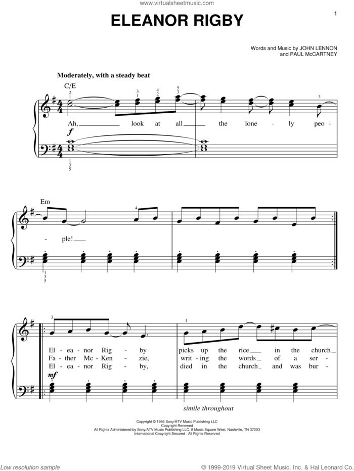Eleanor Rigby, (easy) sheet music for piano solo by The Beatles, John Lennon and Paul McCartney, easy skill level
