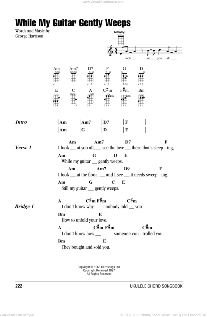 While My Guitar Gently Weeps sheet music for ukulele (chords) by The Beatles and George Harrison, intermediate skill level