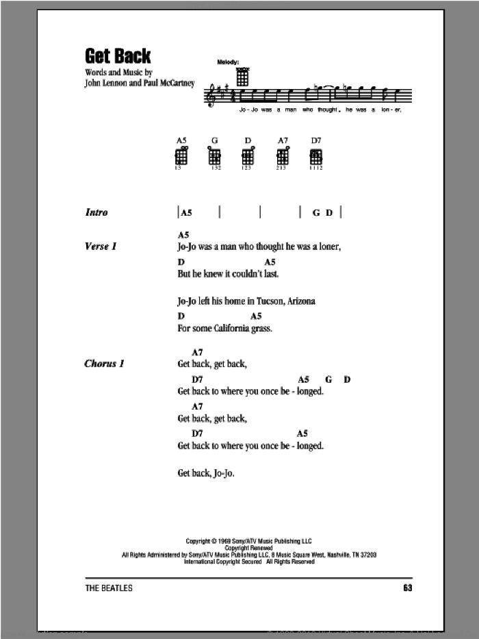 Get Back sheet music for ukulele (chords) by The Beatles, John Lennon and Paul McCartney, intermediate skill level