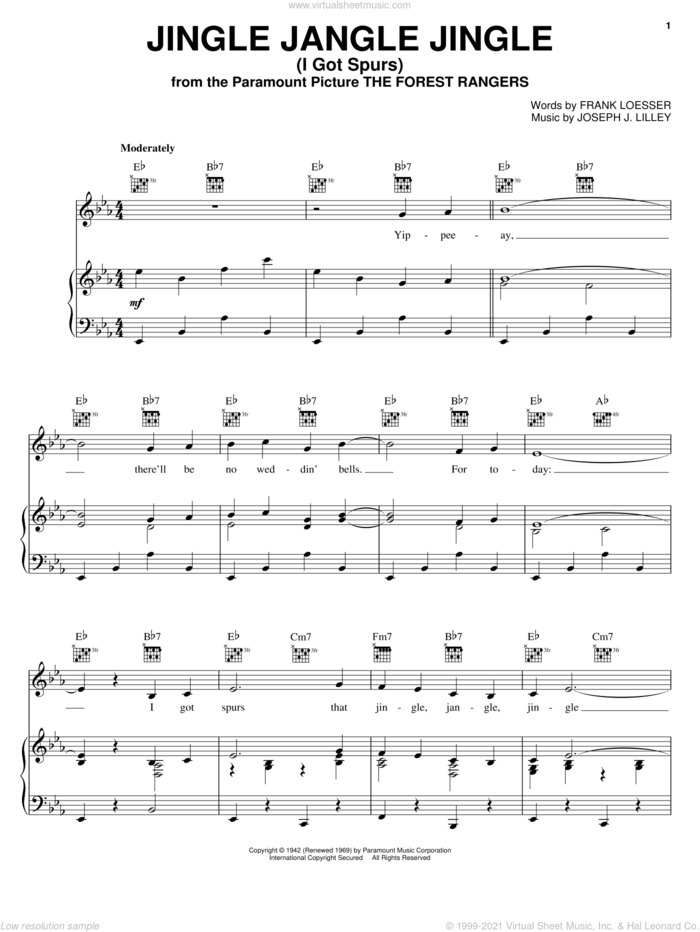 Jingle Jangle Jingle (I Got Spurs) sheet music for voice, piano or guitar by Gene Autry, Kay Kyser, Tex Ritter, Frank Loesser and Joseph J. Lilley, intermediate skill level