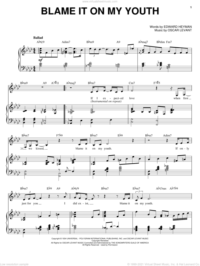 Blame It On My Youth sheet music for voice, piano or guitar by Karrin Allyson, Connie Francis, Jamie Cullum, Edward Heyman and Oscar Levant, intermediate skill level