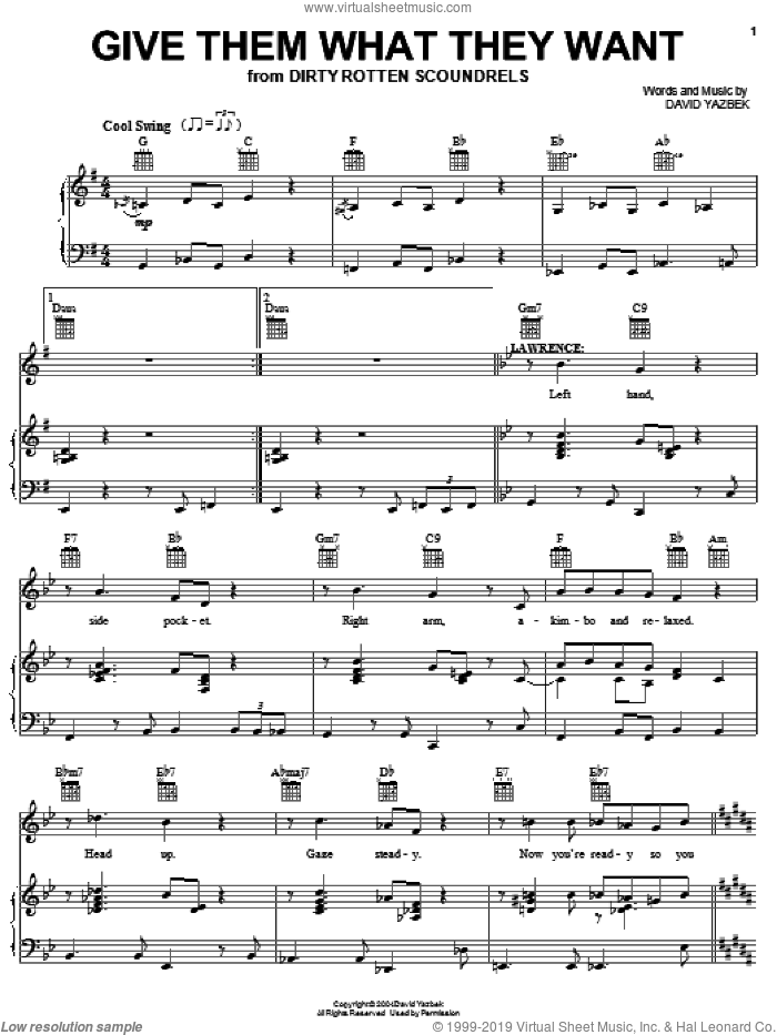 Give Them What They Want sheet music for voice, piano or guitar by David Yazbek and Dirty Rotten Scoundrels (Musical), intermediate skill level