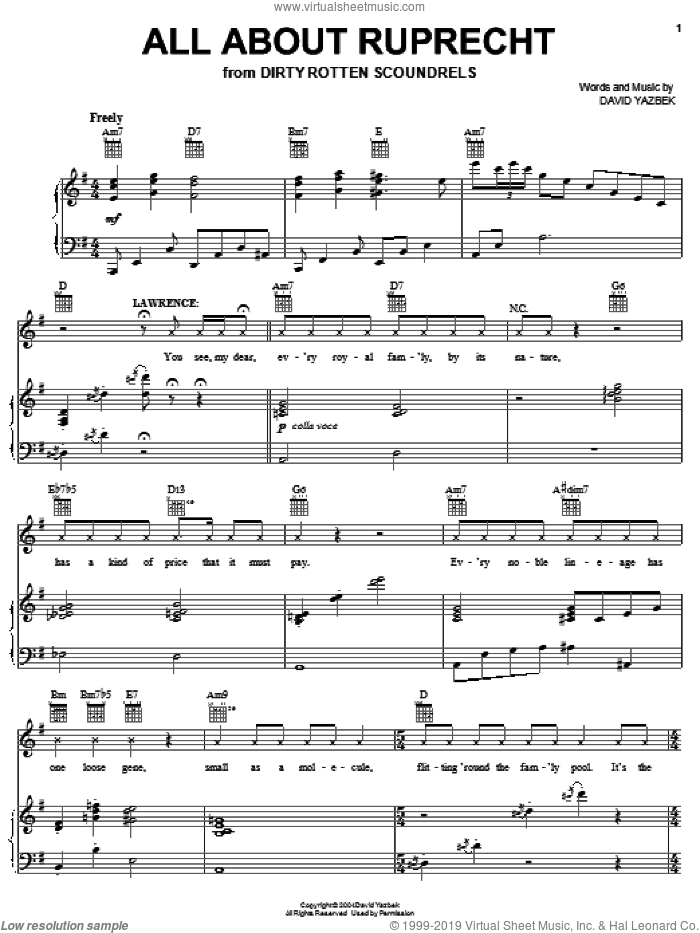 All About Ruprecht sheet music for voice, piano or guitar by David Yazbek and Dirty Rotten Scoundrels (Musical), intermediate skill level