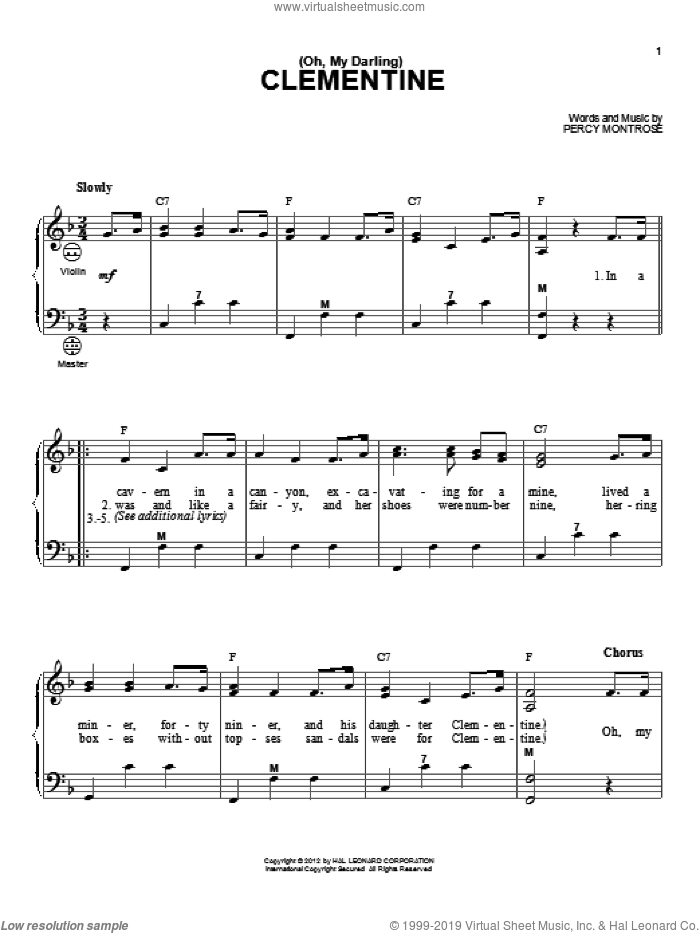 (Oh, My Darling) Clementine sheet music for accordion by Gary Meisner and Percy Montrose, intermediate skill level