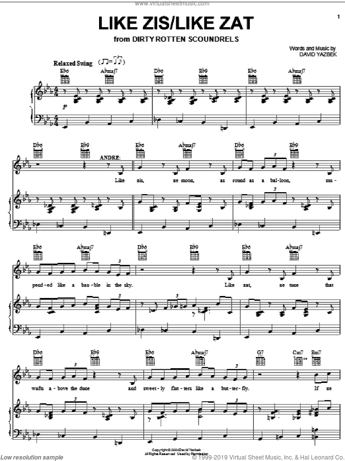 Like Zis/Like Zat sheet music for voice, piano or guitar by David Yazbek and Dirty Rotten Scoundrels (Musical), intermediate skill level