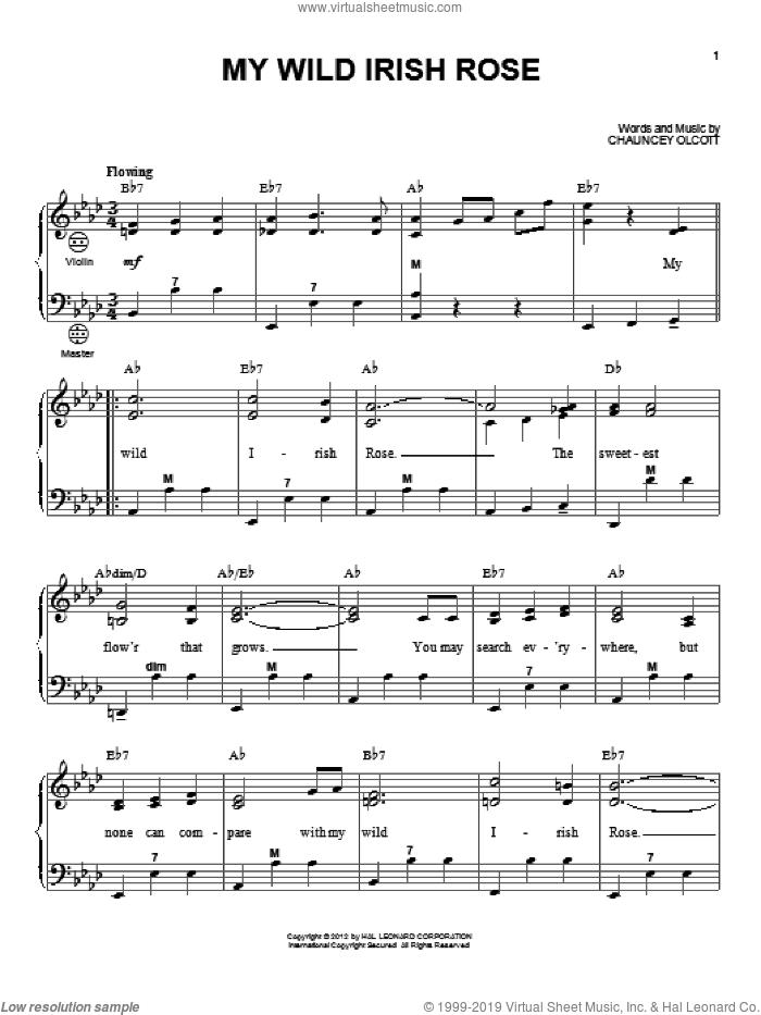 My Wild Irish Rose sheet music for accordion by Gary Meisner and Chauncey Olcott, intermediate skill level
