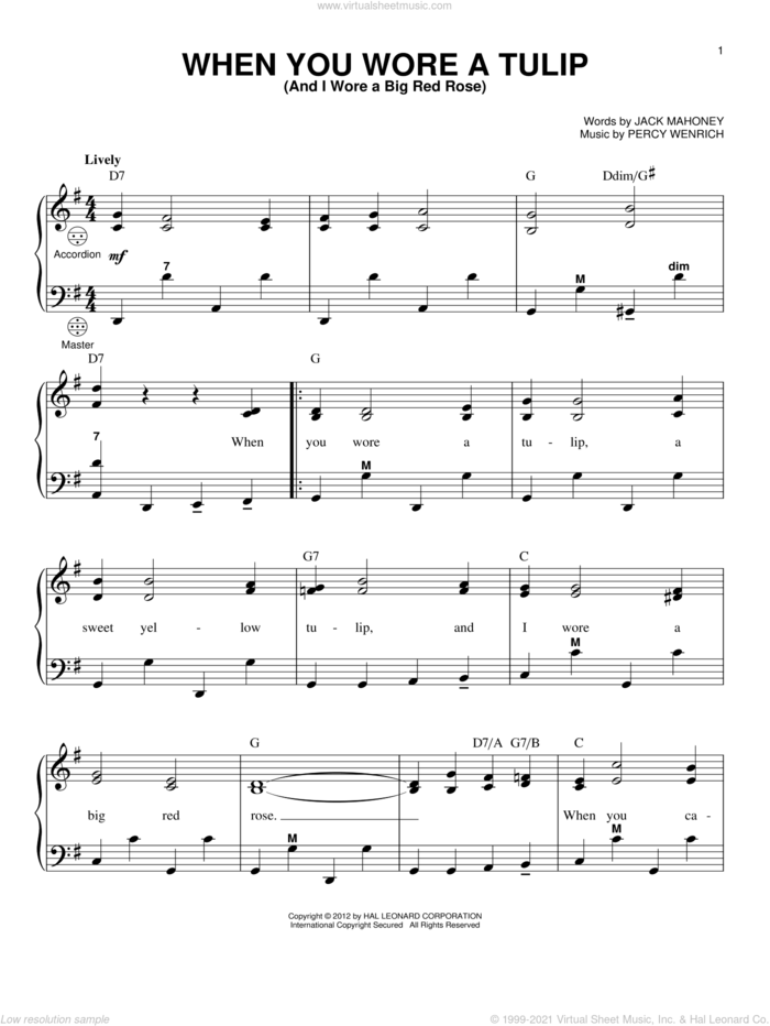 When You Wore A Tulip (And I Wore A Big Red Rose) sheet music for accordion by Gary Meisner, Jack Mahoney and Percy Wenrich, intermediate skill level