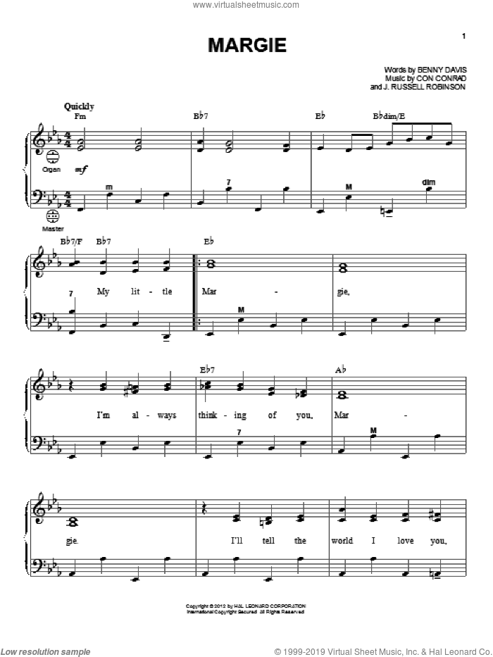 Margie sheet music for accordion by Gary Meisner, Benny Davis, Con Conrad and Russell Robinson, intermediate skill level