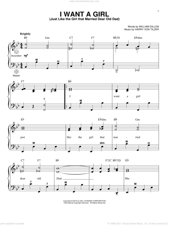 I Want A Girl (Just Like The Girl That Married Dear Old Dad) sheet music for accordion by Gary Meisner, Harry von Tilzer and William Dillon, intermediate skill level