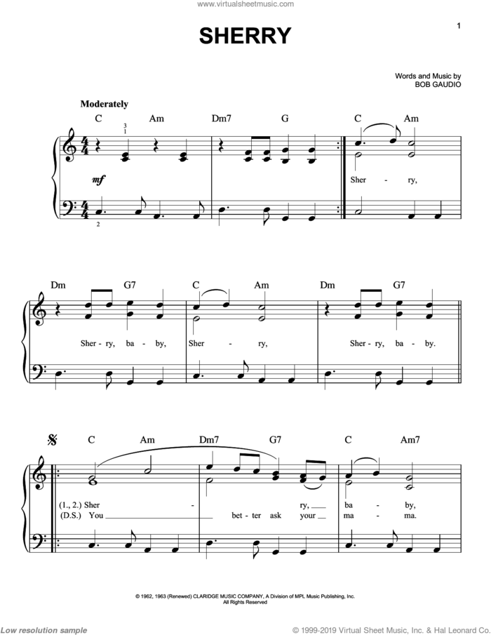 Sherry sheet music for piano solo by The Four Seasons and Bob Gaudio, easy skill level