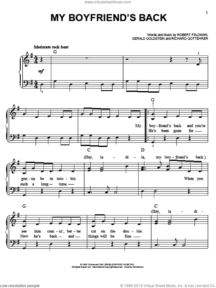 My Boyfriend's Back sheet music for piano solo by The Angels, Bobby Comstock, Gerald Goldstein, Richard Gottehrer and Robert Feldman, easy skill level