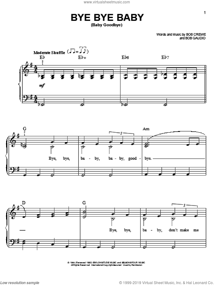 Bye Bye Baby (Baby Goodbye) sheet music for piano solo by The Four Seasons, Bob Crewe and Bob Gaudio, easy skill level