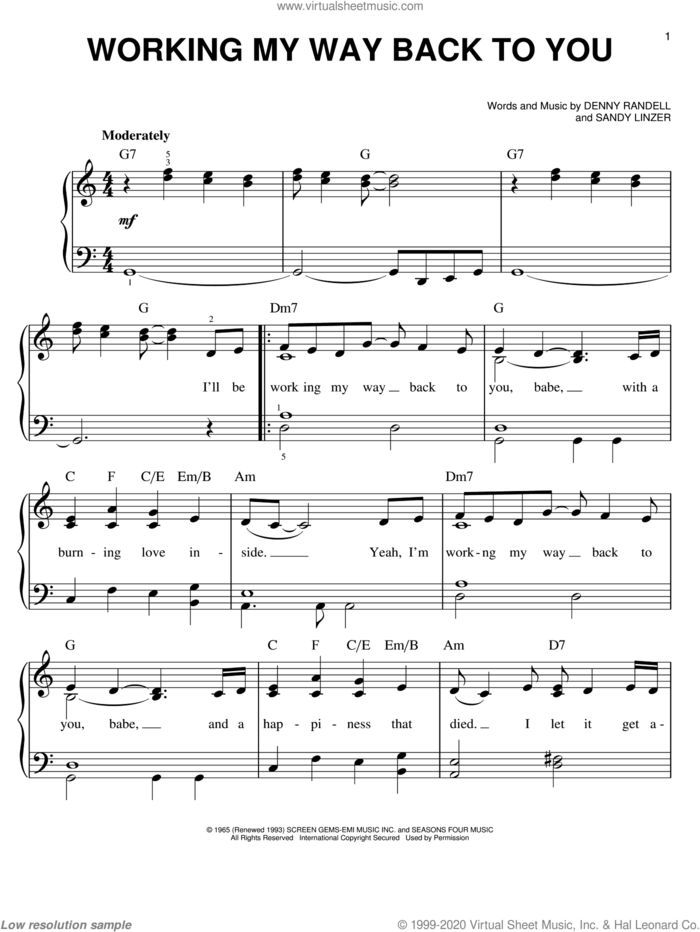 Working My Way Back To You sheet music for piano solo by The Four Seasons, Denny Randell, Sandy Linzer and Spinners, easy skill level