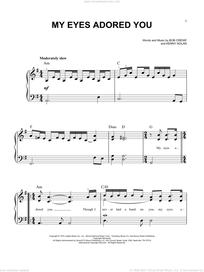 My Eyes Adored You sheet music for piano solo by The Four Seasons, Bob Crewe, Frankie Valli and Kenny Nolan, easy skill level
