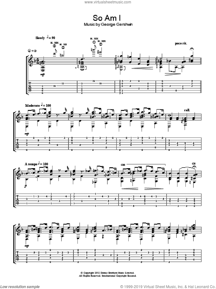 So Am I sheet music for guitar solo (chords) by Jerry Willard and George Gershwin, easy guitar (chords)